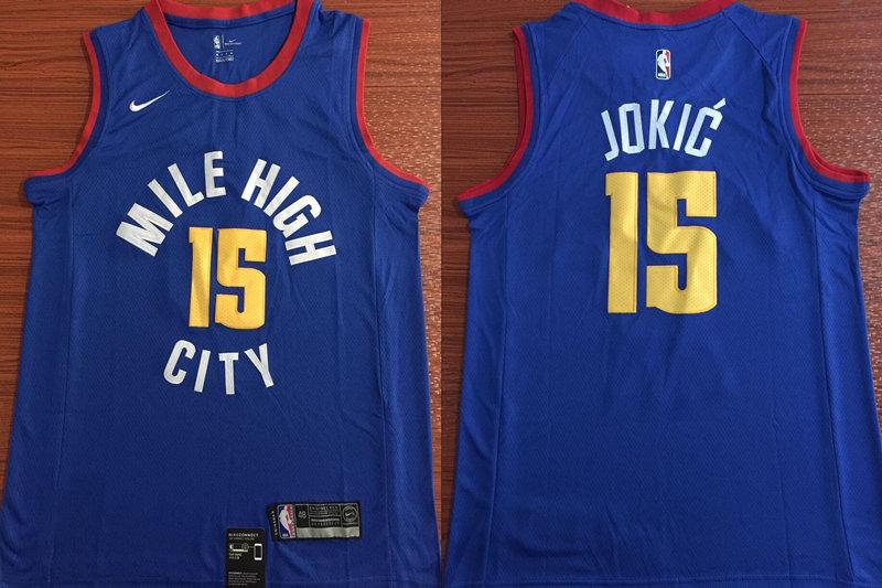 Nuggets #15 Nikola Jokic Blue Nike Swingman Jersey