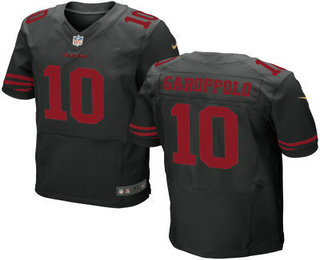 Men's San Francisco 49ers #10 Jimmy Garoppolo Scarlet Black Stitched NFL Nike Elite Jersey