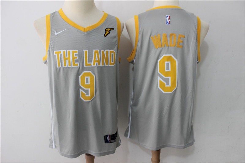 Men's Cavaliers 9 Dwyane Wade Gray The Land Nike Swingman NBA Stitched Jersey