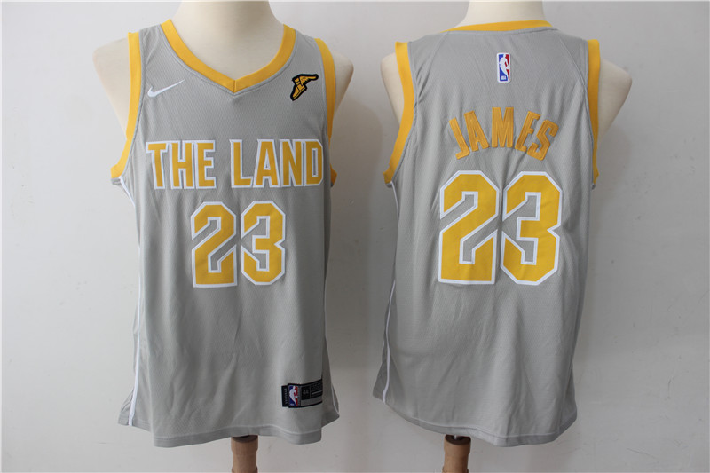 Men's Cavaliers 23 LeBron James Gray The Land Nike Swingman NBA Stitched Jersey