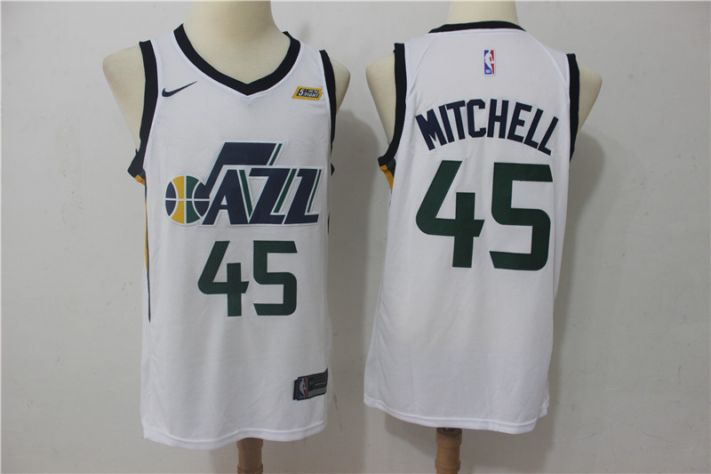 Men's Jazz 45 Donovan Mitchell White Nike Swingman NBA Stitched Jersey