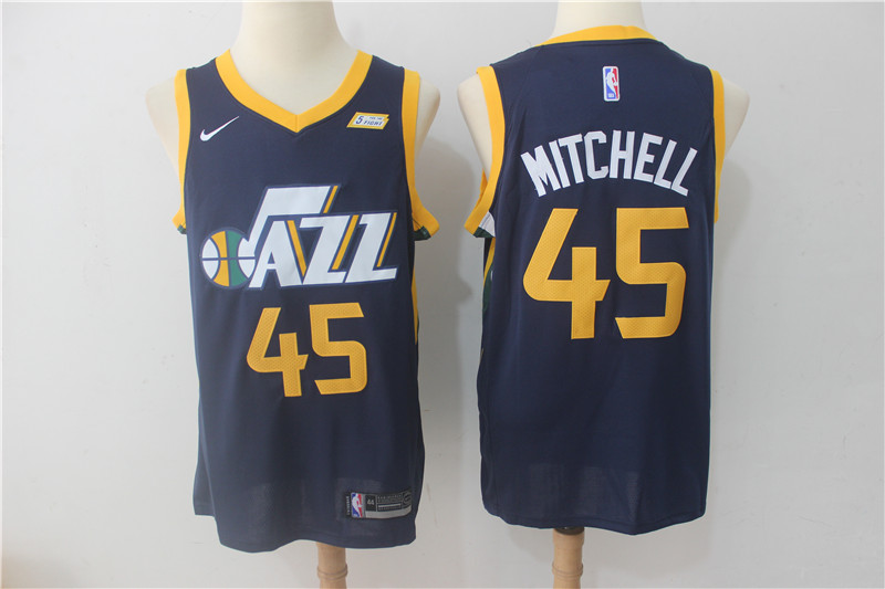 Men's Jazz 45 Donovan Mitchell Navy Nike Swingman NBA Stitched Jersey