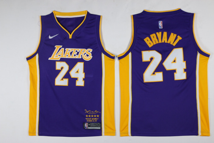 Men's Lakers 24 Kobe Bryant Purple Nike Swingman NBA Stitched Jersey