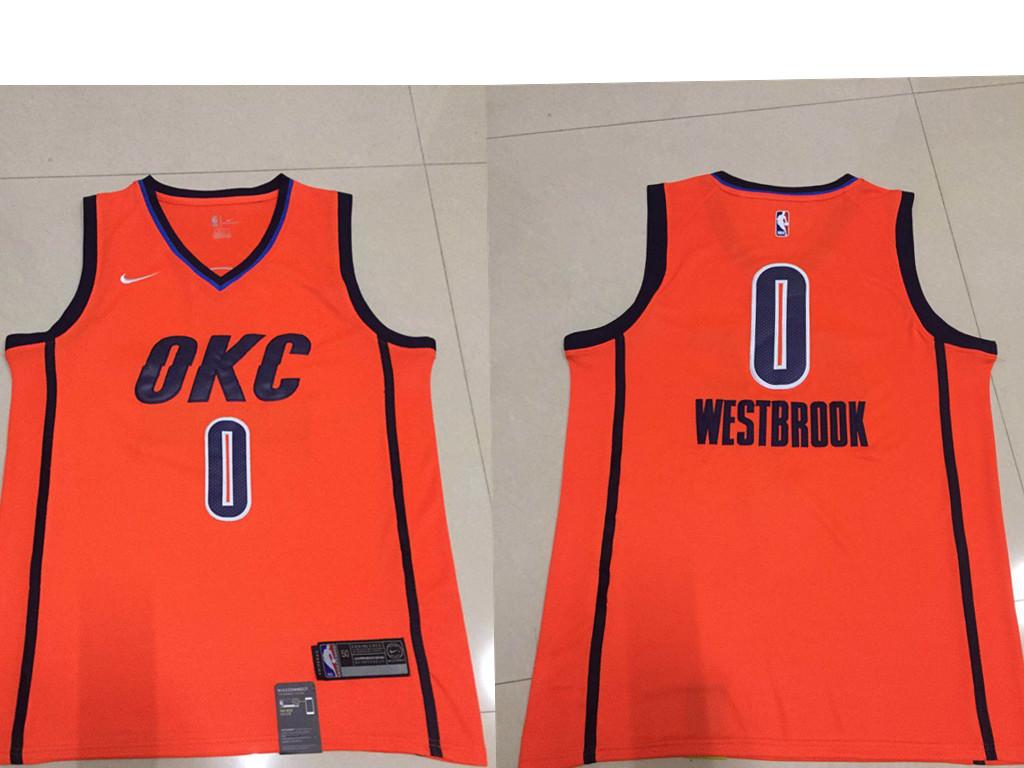 Men's Oklahoma City Thunder #0 Russell Westbrook Nike Orange 2018-19 Swingman Earned Edition Jersey