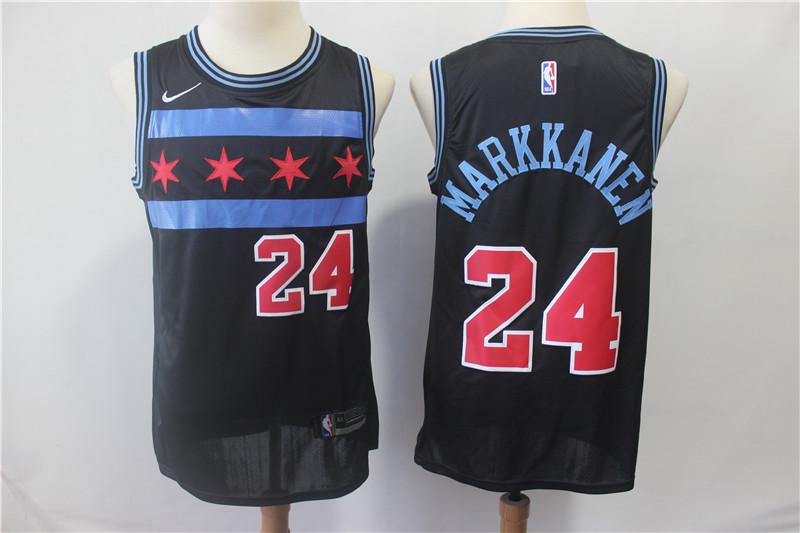 Bulls #24 Laur Markkanen Black 2018-19 City Edition Nike Swingman Jersey