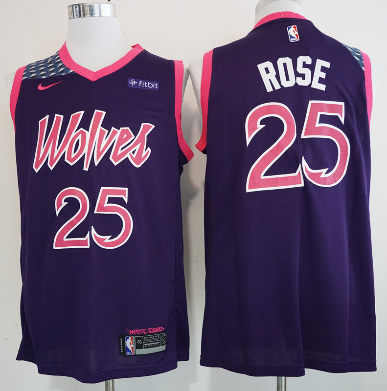 Timberwolves #25 Derrick Rose Purple 2018-19 City Edition Nike Swingman Jersey