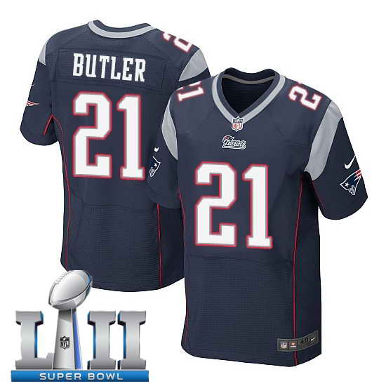 Nike New England Patriots #21 Malcolm Butler Stitched Navy 2018 Super Bowl LII Elite Jersey