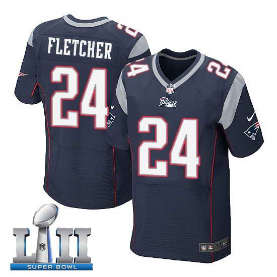 Nike New England Patriots #24 Bradley Fletcher Stitched Navy 2018 Super Bowl LII Elite Jersey