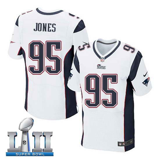 Nike New England Patriots #95 Chandler Jones Stitched White 2018 Super Bowl LII Elite Jersey