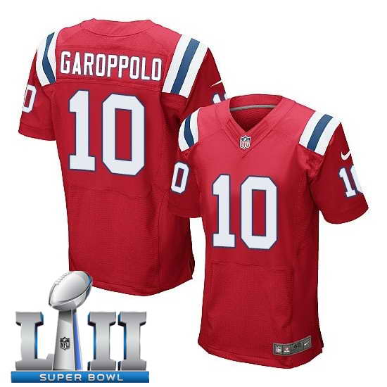 Nike New England Patriots #10 Jimmy Garoppolo Stitched Red 2018 Super Bowl LII Elite Jersey