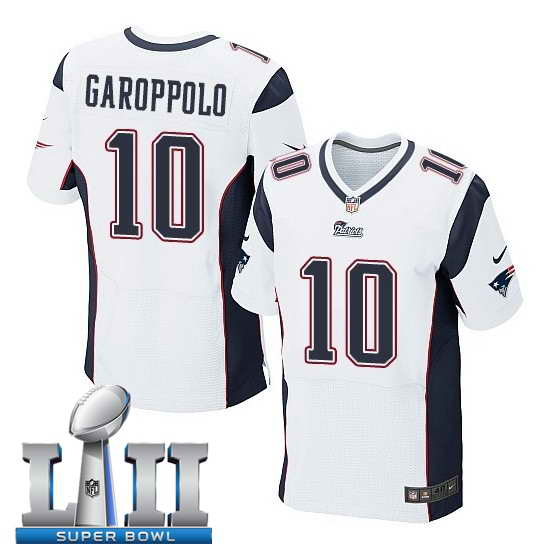Nike New England Patriots #10 Jimmy Garoppolo Stitched White 2018 Super Bowl LII Elite Jersey