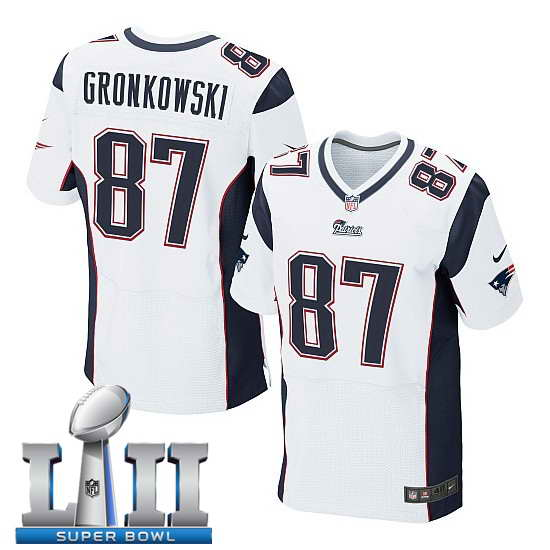 Nike New England Patriots #87 Rob Gronkowski Stitched White 2018 Super Bowl LII Elite Jersey