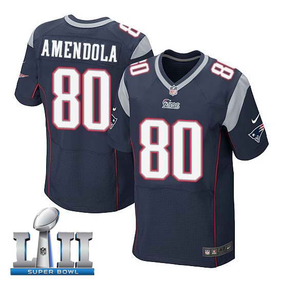 Nike New England Patriots #80 Danny Amendola Stitched Navy 2018 Super Bowl LII Elite Jersey