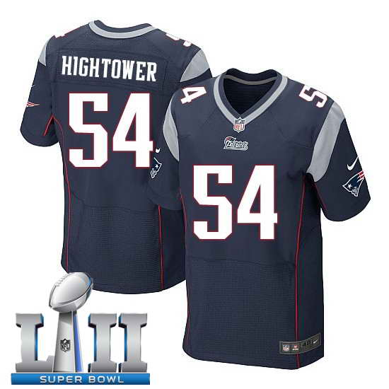Nike New England Patriots #54 Dont'a Hightower Stitched Navy 2018 Super Bowl LII Elite Jersey