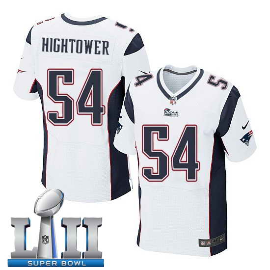 Nike New England Patriots #54 Dont'a Hightower Stitched White 2018 Super Bowl LII Elite Jersey