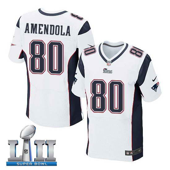 Nike New England Patriots #80 Danny Amendola Stitched White 2018 Super Bowl LII Elite Jersey