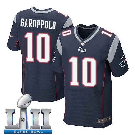 Nike New England Patriots #10 Jimmy Garoppolo Stitched Navy 2018 Super Bowl LII Elite Jersey