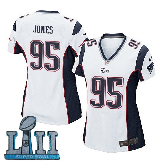 Women Nike New England Patriots #95 Chandler Jones Stitched White 2018 Super Bowl LII Game Jersey