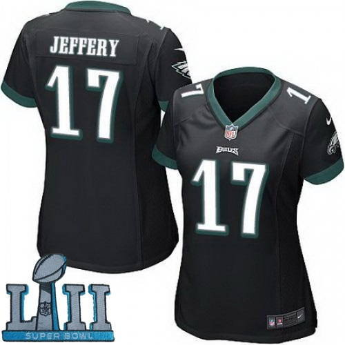 Women Nike Philadelphia Eagles #17 Alshon Jeffery Stitched Black 2018 Super Bowl LII Game Jersey