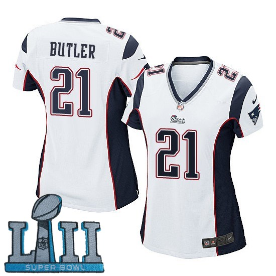 Women Nike New England Patriots #21 Malcolm Butler Stitched White 2018 Super Bowl LII Game Jersey
