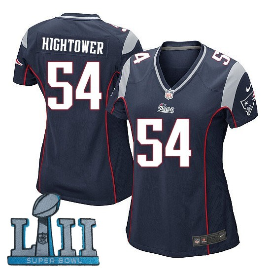 Women Nike New England Patriots #54 Dont'a Hightower Stitched Navy 2018 Super Bowl LII Game Jersey