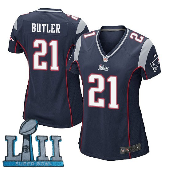 Women Nike New England Patriots #21 Malcolm Butler Stitched Navy 2018 Super Bowl LII Game Jersey