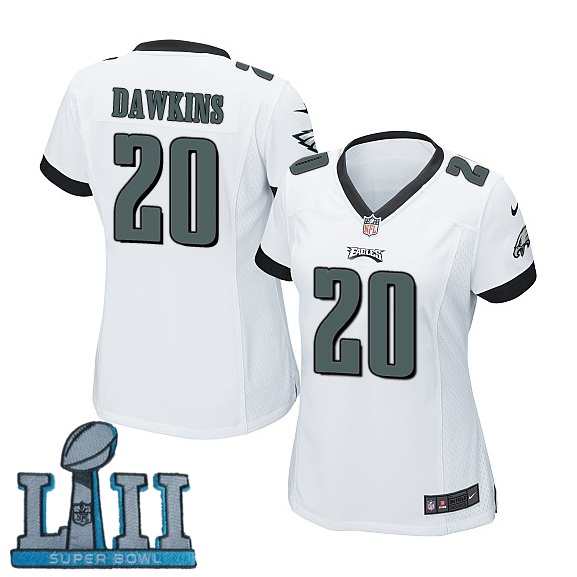 Women Nike Philadelphia Eagles #20 Brian Dawkins Stitched White 2018 Super Bowl LII Game Jersey