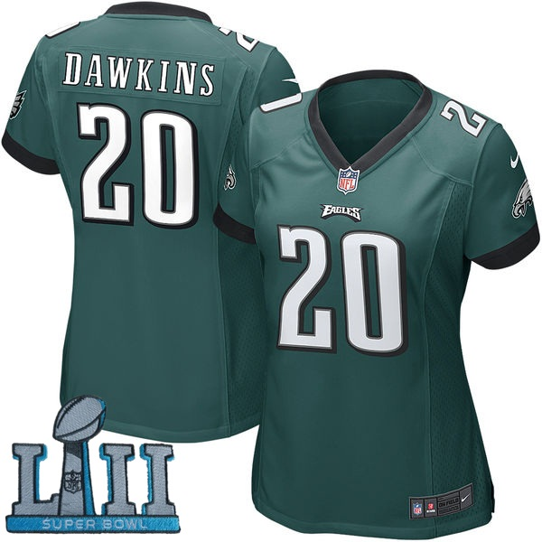 Women Nike Philadelphia Eagles #20 Brian Dawkins Stitched Green 2018 Super Bowl LII Game Jersey