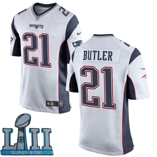 Youth Nike New England Patriots #21 Malcolm Butler Stitched White 2018 Super Bowl LII Game Jersey