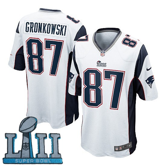 Youth Nike New England Patriots #87 Rob Gronkowski Stitched White 2018 Super Bowl LII Game Jersey