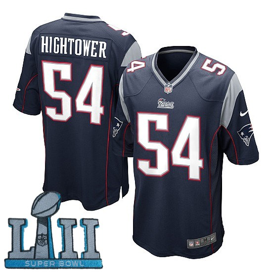 Youth Nike New England Patriots #54 Dont'a Hightower Stitched Navy 2018 Super Bowl LII Game Jersey