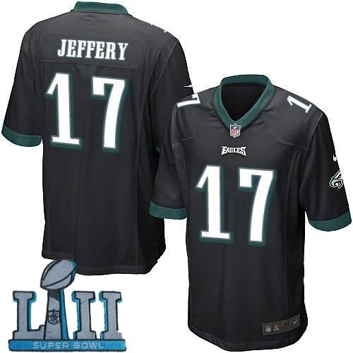 Youth Nike Philadelphia Eagles #17 Alshon Jeffery Stitched Black 2018 Super Bowl LII Game Jersey