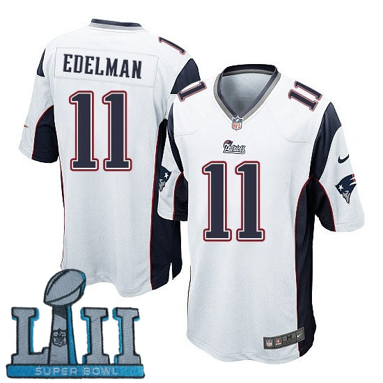 Youth Nike New England Patriots #11 Julian Edelman Stitched White 2018 Super Bowl LII Game Jersey