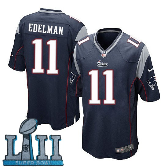 Youth Nike New England Patriots #11 Julian Edelman Stitched Navy 2018 Super Bowl LII Game Jersey
