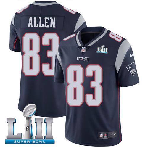 Men's Nike Patriots #83 Dwayne Allen Navy Blue Team Color 2018 Super Bowl LII Stitched NFL Vapor Untouchable Limited Jersey