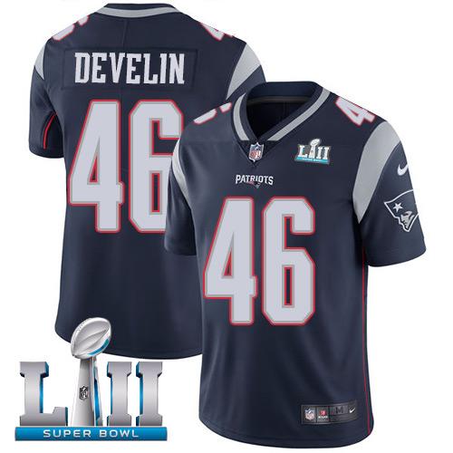 Men's Nike Patriots #46 James Develin Navy Blue Team Color 2018 Super Bowl LII Stitched NFL Vapor Untouchable Limited Jersey