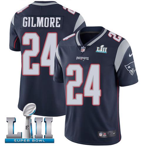 Men's Nike Patriots #24 Stephon Gilmore Navy Blue Team Color 2018 Super Bowl LII Stitched NFL Vapor Untouchable Limited Jersey