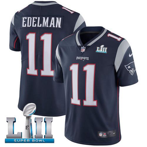 Men's Nike Patriots #11 Julian Edelman Navy Blue Team Color 2018 Super Bowl LII Stitched NFL Vapor Untouchable Limited Jersey
