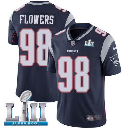 Men's Nike Patriots #98 Trey Flowers Navy Blue Team Color 2018 Super Bowl LII Stitched NFL Vapor Untouchable Limited Jersey