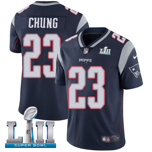 Men's Nike Patriots #23 Patrick Chung Navy Blue Team Color 2018 Super Bowl LII Stitched NFL Vapor Untouchable Limited Jersey