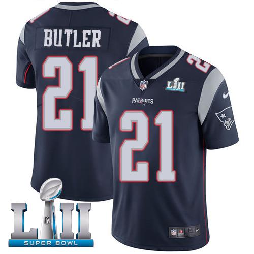 Men's Nike Patriots #21 Malcolm Butler Navy Blue Team Color 2018 Super Bowl LII Stitched NFL Vapor Untouchable Limited Jersey
