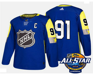 Men's Tampa Bay Lightning #91 Steven Stamkos Blue 2018 NHL All-Star Stitched Ice Hockey Jersey