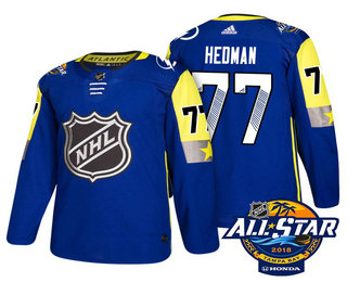 Men's Tampa Bay Lightning #77 Victor Hedman Blue 2018 NHL All-Star Stitched Ice Hockey Jersey