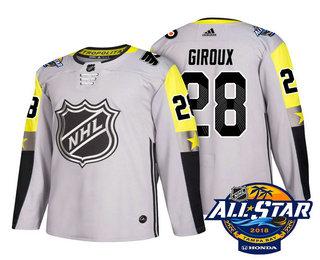 Men's Philadelphia Flyers #28 Claude Giroux Grey 2018 NHL All-Star Stitched Ice Hockey Jersey