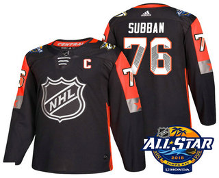 Men's Nashville Predators #76 P.K. Subban Black 2018 NHL All-Star Stitched Ice Hockey Jersey