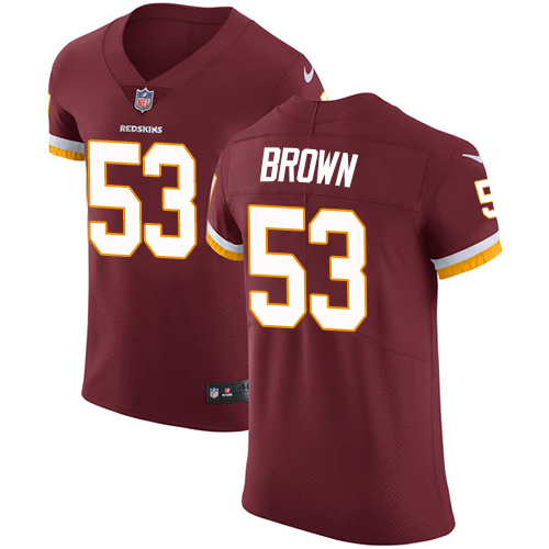 Nike Redskins Men's #53 Zach Brown Burgundy Stitched Red Team Color NFL Vapor Untouchable Elite Jersey