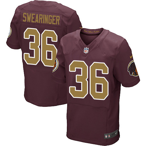 Nike Redskins Men's #36 D.J. Swearinger Burgundy Stitched Red Alternate NFL 80TH Throwback Elite Jersey