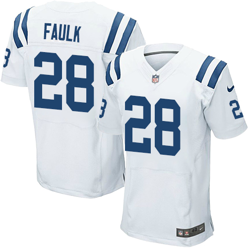 Nike Colts Men's #28 Marshall Faulk Stitched White NFL Elite Jersey