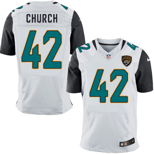 Nike Jaguars Men's #42 Barry Church Stitched White NFL Elite Jersey