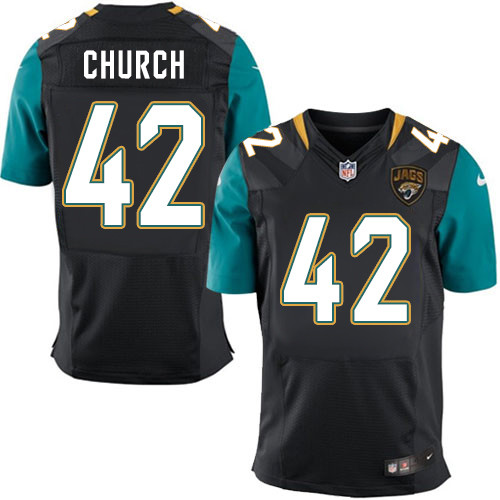 Nike Jaguars Men's #42 Barry Church Stitched Black Alternate NFL Elite Jersey